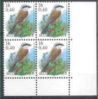 2000 BELGIQUE 2885** Oiseau Buzin, Pie Grièche, Bloc De 4 - Belgique