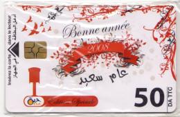ALGERIE Télécarte à Puce BONNE ANNEE 2008 Verso Calendrier NEUF