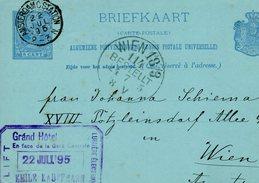 1895  Briefkaart  Van AMSTERDAM C.STATION Naar Wien Met Firmastempel - Brieven En Documenten