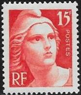 N° 822   FRANCE   -  NEUF  -  MARIANNE DE GANDON 15 F -  1949