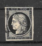 FRANCE CERES 20c Noir N° 3 Oblitéré