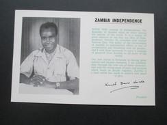 Postkarte 1964 Zambia Independence FDC 24.10.194. CPO Stamp Bureau. President Kenneth Kaunda - Zambia (1965-...)