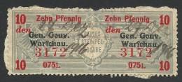 Poland, German Occupation, Revenue 10 Pf. 1916, Used - Occupation 1914-18