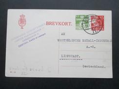 Dänemark 1934 Ganzsache Mit Zudruck. Erhöhung Des Auslandsporto. Westfälische Metall Undustrie Lippstadt - Interi Postali