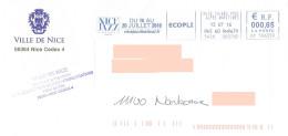 EMA CP 596359 Alpes Maritimes + Flamme Nice Jazz Festival 2016 (annulé) Sur Enveloppe Mairie Armoiries Aigle Eagle Adler - Música