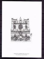 GRAVURE  Façade De La Cathédrale Saint- Jean .Lyon - Documents De La Poste