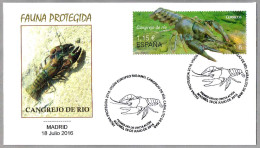 Fauna Protegida: CANGREJO DE RIO - CRAYFISH. SPD/FDC Madrid 2016 - Crostacei