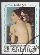 "629 Ajman 1970 ""Mezza Figura Di Bagnante"" Quadro Dipinto Da J.A.D. Ingres Preoblit. Neoclassicismo Painting Imperf."