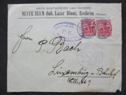 Lettre Vers LUXEMBOURG 1915, En Provenance De ROSHEIM ALSACE, Censuré TRIER, Controlé STRASBOURG - Luxembourg