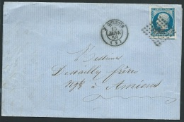 N°14 Sur  Lac  Oblitéré Petits Chiffres 3256 Saint Quentin En 1858 - Obe0610 - 1849-1876: Période Classique