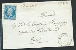 N°14 Sur  Lsc  Oblitéré Petits Chiffres 1647  Lanvollon ( Côte Du Nord ) En 1858 Obe0701 - Marcophilie (Lettres)