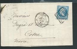 N°14 Sur  Lac  Oblitéré Paris Losange D EN 1861  Obe0705 - Marcophilie (Lettres)