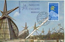 14857 Italia, Maximum 1958 Bruxelles World Exhibition,exposition Mondiale De Bruxelles, Italian Pavillon Mobil Post Offi