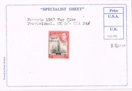 Sello  1/2 Penny BERMUDA, Subrecargado, SG 122 * - Bermudas