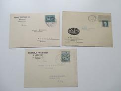 Tschechoslowakei 1936 Firmenpostkarten 3 Stück. Weipert / Wasserau / Prag. Interessant?! Muttersdorf - Tschechoslowakei/CSSR