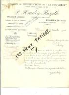 59 - Nord - SOLRINNES - Facture  HEUCLIN-FLAYELLE - Constructeur-mécanicien – 1922 - REF 46B - 1900 – 1949