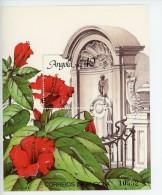 Angola 1990-Hibiscus-Belgica 90-Expo-Statut Manneken Pis-YT B10***MNH