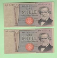 1000 Lire Verdi II° Tipo 1981 Numeri Consecutivi - [ 2] 1946-… : Repubblica