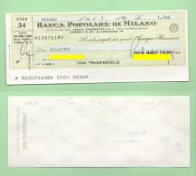 Assegno Per 1100 Lire  1980 Postal Market - Assegni & Assegni Di Viaggio