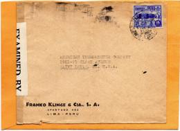 Lima Peru 1941 Censored Cover Mailed To USA - Peru