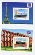 Angola 1999-Trainx,Tour Eiffel,pont-YT B74/75***MNH-PHILEXFRANCE