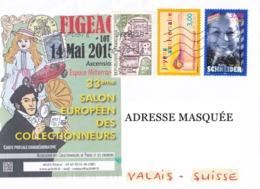 33ème Salon Européen Des Collectionneurs 14 Mai 2015 YY&T N° 1793, 3141, 3187 Superbe Lettre Voyagée En 2015 Exc N° 2457 - Frankrijk