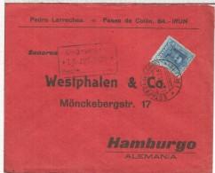 IRUN GUIPUZCOA CC ALEMANIA 1928 MAT ESTAFETA DE CAMBIO SELLOS ALFONSO XIII VAQUER - 1931-Aujourd'hui: II. République - ....Juan Carlos I