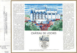 Sur Feuillet CEF , FDC 1986 Loches .   CHATEAU DE LOCHES ...d'Architecture Militaire Du Moyen-Age ....