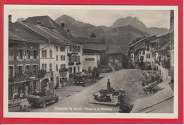 GRUYÈRES, LA RUE DU VILLAGE ET LE MOLÉSON, OLDTIMER, SHELL TANKSTELLE - FR Fribourg