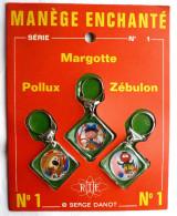 RARE PANNEAU DE 3 PORTE CLES KEY CHAIN ORTF - Losange -  MANEGE ENCHANTE MAGIC ROUNDABOUT - Porte-clefs