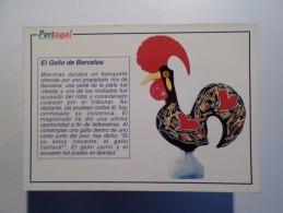 ART POSTCARD PORTUGAL GALO DE BARCELOS ROOSTER COQ SPAIN ESPAGNE ESPAÑA ESPANA LANGUAGE EL GALLO 1980 YEARS - Pájaros