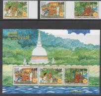 SRI LANKA, 2015, MNH, VESAK, CELEBRATIONS, BUDDHA, MONKS, 3v+SHEETLET - Other
