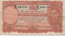 (B0244) AUSTRALIA, 1952 (ND). 10 Shillings. P-25d. VG - Pre-decimal Government Issues 1913-1965