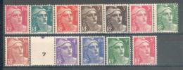 France 1945-47 - 12 TP Marianne De Gandon Tous Différents - Y&T N° 712 à 716B/718a/718A/719/719A ** Neufs Luxe 1er Choix