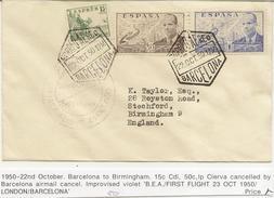 Historia Postal   Carta  Barcelona - Birmingham  1950  Correo Aéreo   NL529 - 1931-Today: 2nd Rep - ... Juan Carlos I