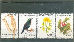 1992 S. TOME E PRINCIPE Y & T N° 1189 à 1142 ( O ) Oiseaux Et Fleurs