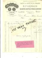75 - Paris - PARIS - Facture GRIMAUD - Fabrique De Cartes à Jouer – 1906 - REF 47A - 1900 – 1949