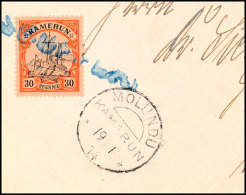 SOUFFLAY, Blauer L1, Großer Elfenbeinstempel Auf Briefstück 30 Pf. Schiffszeichnung Mit Nebenstempel...