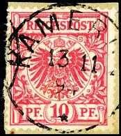 10 Pf. Krone/Adler In C-Farbe Tadellos Auf Briefstück, Zentrisch Voll Gestempelt KAMERUN 13/11 94, Dopp....