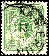 """5 Pf. Gelblichgrün Ideal Zentrisch Gestempelt """"KAMERUN"""" (ohne Jahreszahl!) (Steuer X 3), Leicht Erhöht..."""