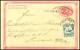 """5 Pf. Kiautschou Als Petschili-Verwendung Auf Chinesischer 1C Ganzsachenkarte Mit Stempel """"PEKING 25/5 01"""" Und..."""