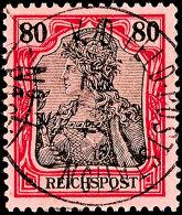 80 Pf. Reichspost Als Petschili-Verwendung Tadellos Gestempelt K.D.FELDPOSTSTATION Nr. 7, Tiefst Gepr. Bothe, Mi....