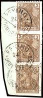 3 Pfg Germania Reichspost, Senkrechtes Paar Und Einzelwert Mit Falz Auf Briefstück Befestigt (dieses War...