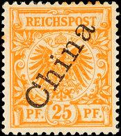 """25 Pf Krone/Adler Mit Steilem Aufdruck """"China"""", Plattenfehler II, Tadellos Ungebraucht, Mi. 206.-, Katalog: 5II/II..."""