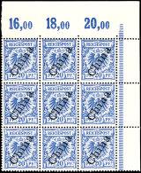 20 Pf Steilaufdruck Als Eckrand-9er-Block, 5 Marken Tadellos Postfrisch, 4 Mit Erstfalz, Mi. 355.-, Katalog: 4II(9)...