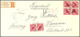 10 Pf. Steilaufdruck, UV Hellzinnober 6 Mal (2 Paare, 2 Einzelmarken) Auf Portogerechtem Einschreibebrief Von...