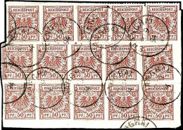 """50 Pfg Mittelbraunrot, 15x Auf Bedarfs-Leinenbriefstück Mit Stempel """"SHANGHAI 8.9.94"""", Dabei 3er-Streifen (2x)..."""