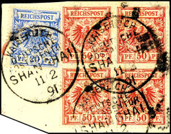 """50 Pf. Viererblock Und 20 Pf Auf Leinen-Briefstück, Fotobefund Ronald F. Steuer BPP: """"...zeigt Drei Echte Und..."""