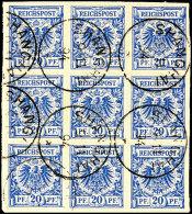 20 Pf. Krone/Adler, 9er-Block Auf Briefstück Mit Kleinem Stempel SHANGHAI 9/11 94, Eine Marke Kleiner...