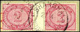 2 Mark Waagerechtes Zwischenstegpaar Tadellos Auf Briefstück Mit Stempel SHANHGAI * B 27/4 00 (Steuer X 3),...